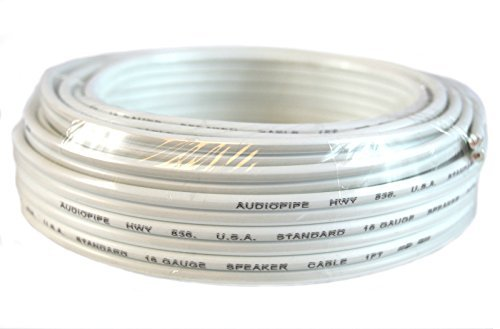 16 Gauge 25 Feet White Speaker Wire Zip Cable Copper Clad Ca