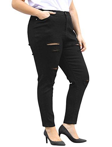 Agnes Orinda Mujer Talla extra Zip volar alto cintura skinny Vaqueros rajados Black