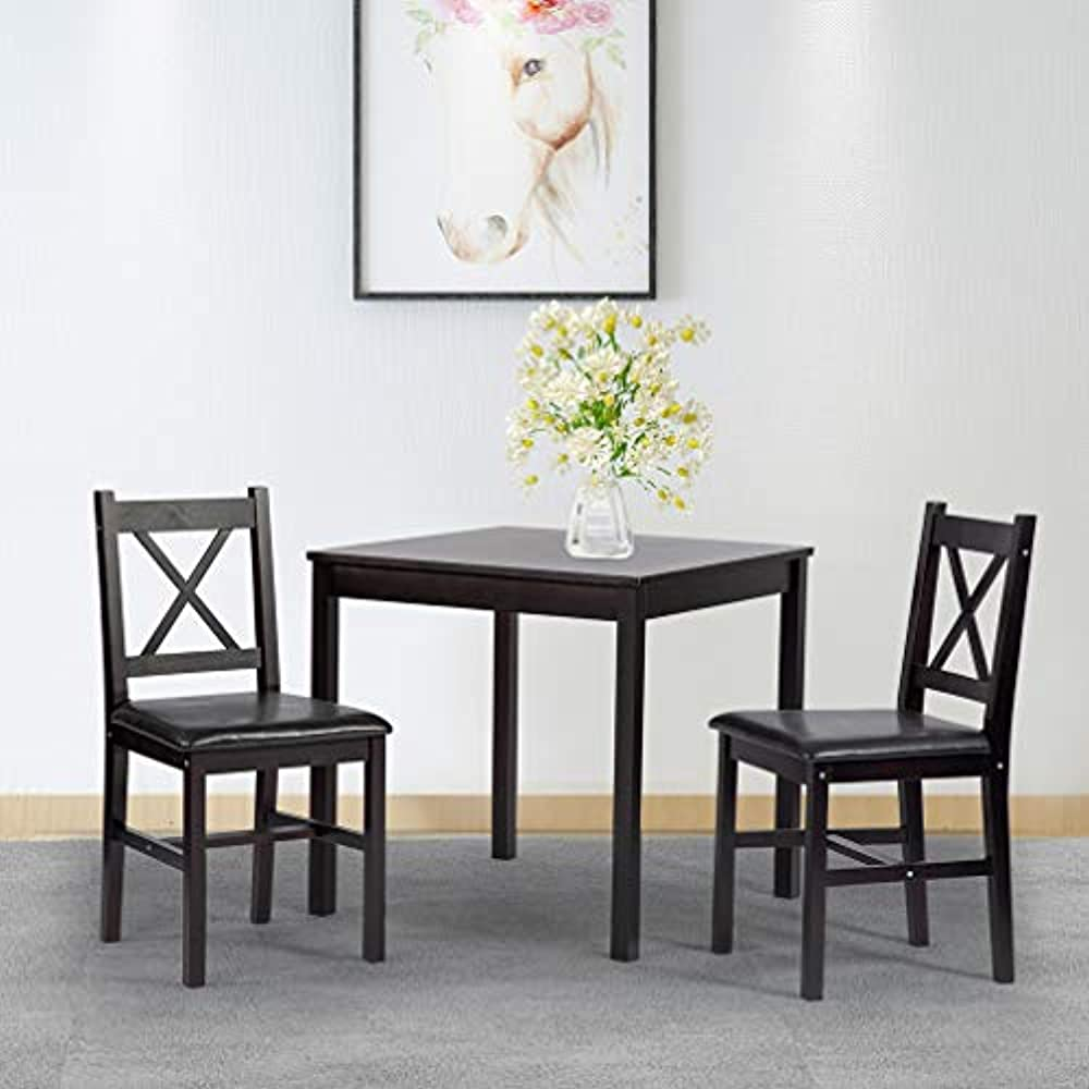 Details About Dining Kitchen Table Set 3 Piece Wood Door Square Small Farmhouse Room And Chair