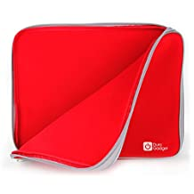 "Red ""Travel"" Laptop Sleeve Case in Water Resistant & Shock Absorbent Neoprene With Dual Zips Compatible with the MSI GE62 6QC 