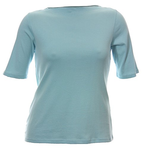 Charter Club Plus Size Elbow-Sleeve Boat-Neck Tee 0X Angel Blue