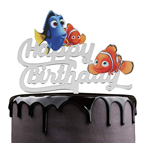 Finding Nemo Happy Birthday Cake Topper - Ocean Sea Animals Theme Party Cake Décor - Baby Shower Child Birthday Party Supplies - Adorable Disney Dory Clownfish Mirrored Acrylic Decorations -