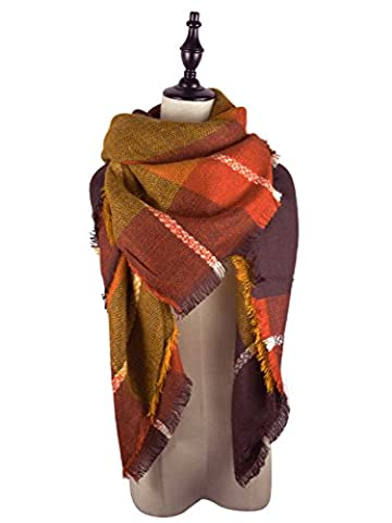American Trends Fashion Soft Women's Fall Winter Plaid Scarf Shawl Wraps Tartan Pashminas with Fringes Brown (Cheap Butterfly Stuff)