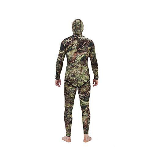 Flexel Camo Spearfishing Wetsuits Men Premium Neoprene Camouflage 2-Pieces Hoodie Freediving Fullsuit for Scuba Diving Snorkeling Swimming (5mm Grass camo, Medium) by Flexel (Image #6)