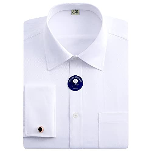 """J.Ver Men's Regular Fit French Cuff Spead Collar Long Sleeve Metal Cufflink Dress Shirts - Color White, Size: 16""""..."""