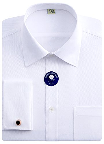 J.Ver Men's Regular Fit French Cuff Spead Collar Long Sleeve Metal Cufflink Dress Shirts - Color White, Size: 16.5