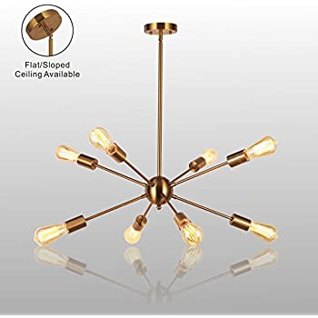 Amazon sputnik chandelier housen solutions 6 lights modern sputnik chandelier light vinluz 8 lights brushed brass modern pendant lighting gold mid century ceiling light fixture for dining room bed room kitchen room mozeypictures Gallery