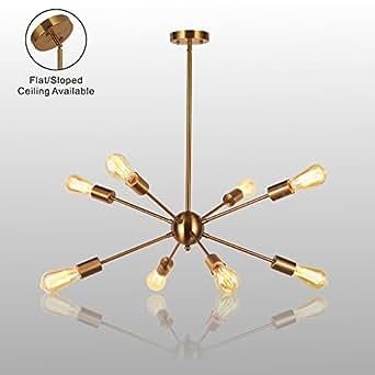 Sputnik Chandelier Light-VINLUZ 8 Lights Brushed Brass Modern Pendant lighting Gold Mid Century Ceiling Light Fixture for Dining Room Bed Room Kitchen Room UL Listed