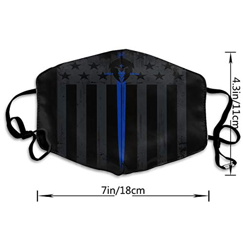 Blue Line Flag Adult Customized Protective Fashion Air Mask | Face Mask | Anti Pollution Dust Mask | Washable And Reusable
