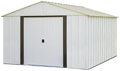 - Arrow Arlington High Gable Steel Storage Shed, Eggshell/Coffee Trim, 10 x 12 ft.