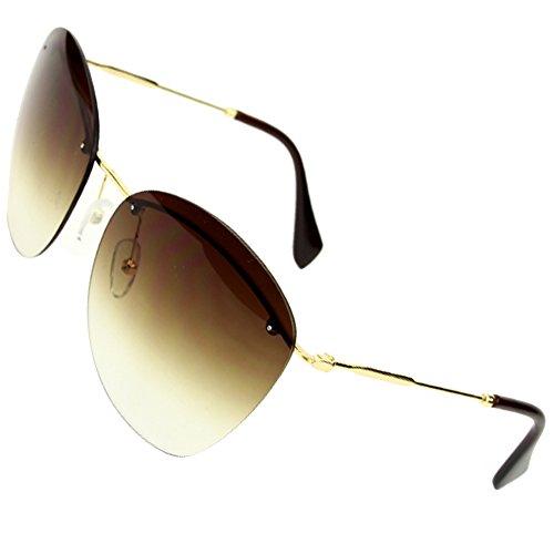 Sumery Fashion Designer Rimless Silver Or Gold Arm Sunglasses Women Ladies (Gold, - Gaga Sunglasses Versace Lady