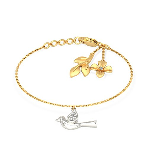 14K Or jaune, 0.055CT TW Round-cut-diamond (Ij| SI) Identification-bracelets