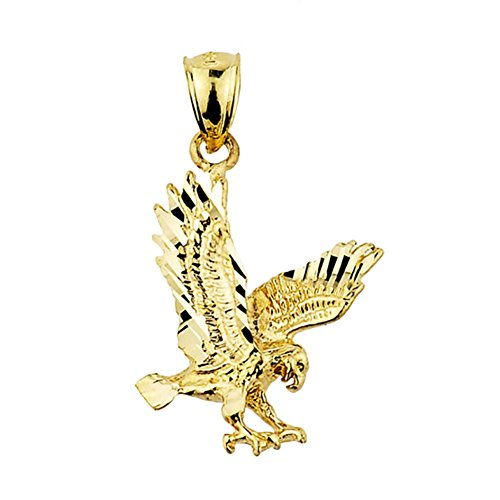 Animal Kingdom Textured 14k Yellow Gold Landing Eagle Charm Pendant (Eagle Bird Charm)