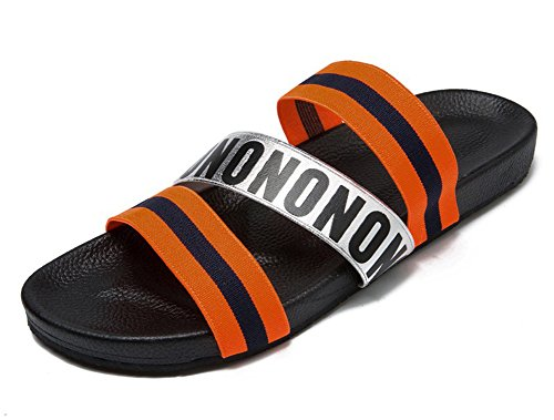 Aisun Mens Unico Lettera Stampa Strappy Open Toe Piatto Sandali Con Scivolo Elastico Pantofole Spiaggia Sabbiosa Scarpe Arancione