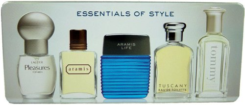 Tommy Free Gift Set Shipping (Essentials Of Style by Various Designers for Men - 5 Pc Gift Set Tommy - Tommy Hilfiger 7ml Col. Splash, Tuscany - Aramis 7ml EDT Splash, Aramis Life - Aramis 7ml EDT Splash, Aramis - Aramis 5ml EDT Splash, Pleasures - Estee Lauder 6ml Col. Spray)