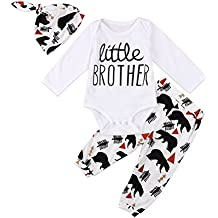 3 pcs Newborn Baby Boy Little Brother Romper Bodysuit Long Pant Outfit Set
