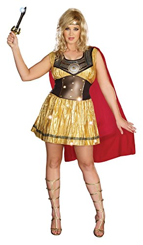 Tv Gladiator Costume (GTH Women's Historic Golden Gladiator Theme Party Fancy Halloween Costume, 3XL (18-20))