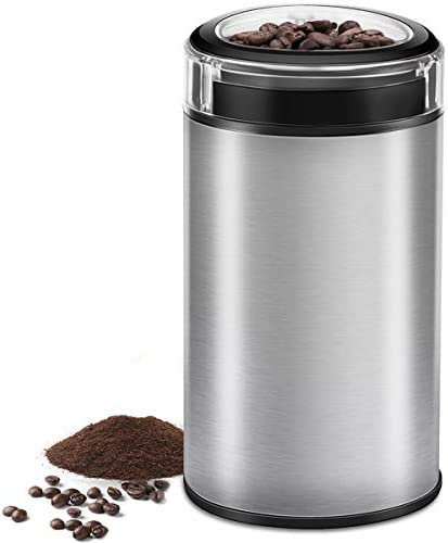 Electric Coffee Grinder Spice Grinder – Stainless Steel Blades Grinder for Coffee Bean Seed Nut Spice Herb Pepper, Brushed Stainless Steel Texture and Transparent Lid