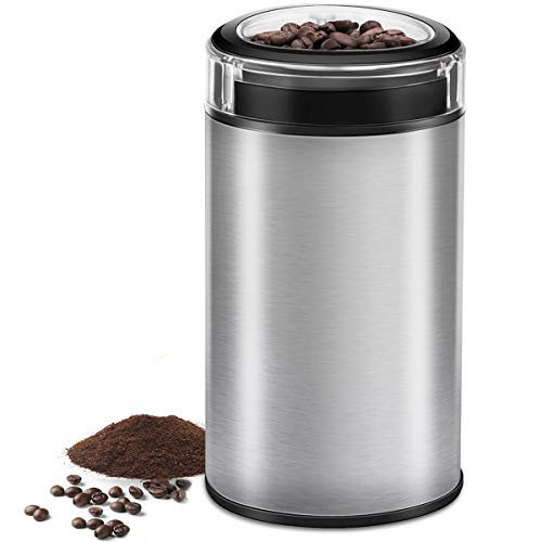 - Electric Coffee Grinder Spice Grinder - Stainless Steel Blades Grinder for Coffee Bean Seed Nut Spice Herb Pepper, Brushed Stainless Steel Texture and Transparent Lid