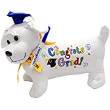 """Graduation Autograph Stuffed Dog w/ Pen, """"Congrats Grad!"""" (Blue) 12"""""""