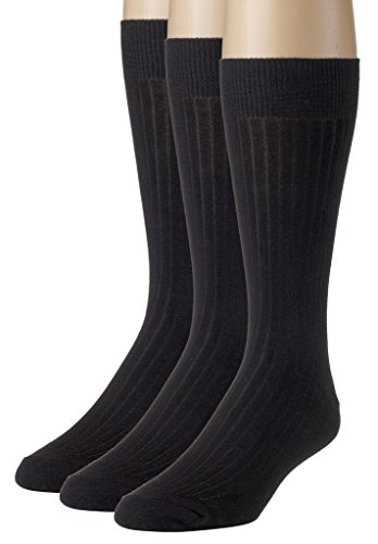 Sportoli Men's 3 & 6 Pack Soft Ribbed Knit Classic Cotton Mid-Calf Crew Dress Socks - Black (10-13)