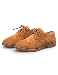 KUO LI Women's Suede Leather Shoes Wingtip Brogues Flat Oxfords Vintage Oxford Shoes