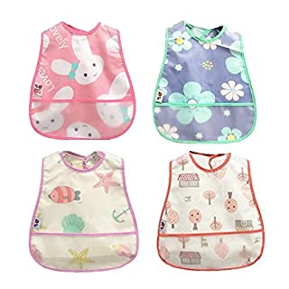 Baby Waterproof Bib with Crumb Catcher Pocket, Comfortable Soft Adjustable Snaps Feeding Bibs for Infants and Toddlers (Watermelon)