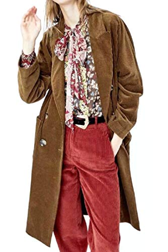 (VITryst-Women Corduroy Maxi and Midi British Style Trench Coat Jacket M)