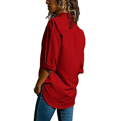 BeautyVan—Winter Clearance Sale ! Button Down Shirt Women V-Neck Casual Long Sleeves Plus Size Tops Loose Pullover Blouse -
