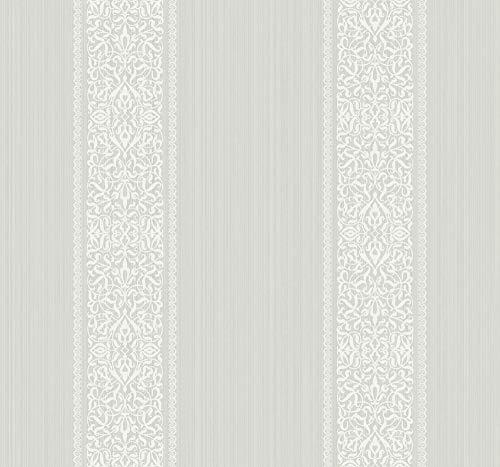 Filigree Stripe Wallpaper in Light Silver ET40600 from Wallquest