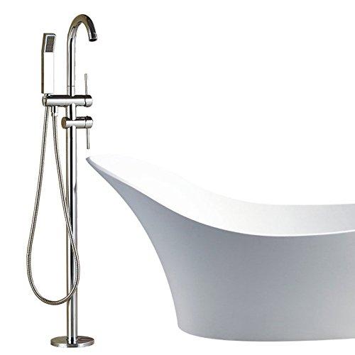 Votamuta Polished Chrome Brass Bathroom Floor Mount Bathtub Faucet with ABS Plastic Handshower Free Standing Tub Filler Tap by Votamuta (Image #2)