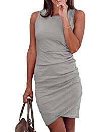 Womens Dresses Summer Casual Ruched Short Sleeve Irregular Bodycon Mini Dress