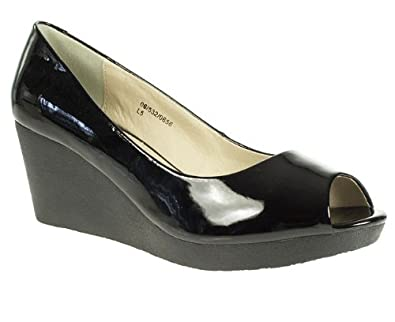 Natures Own Womens Ladies Black Patent Peep Toe Wedge Court Shoes Size 8 5271340bc09