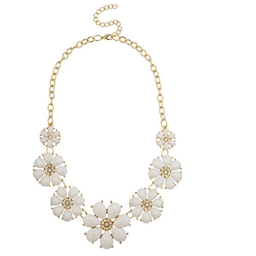 White Flower Necklace (Lux Accessories Goldtone and White Floral Flower Fashion Statement Necklace)