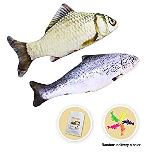 MR-BABULA Catnip Toys, 3D Simulation Plush cat Fish Toy,Salmon & Grass carp,for Cats/Dogs(7.5)