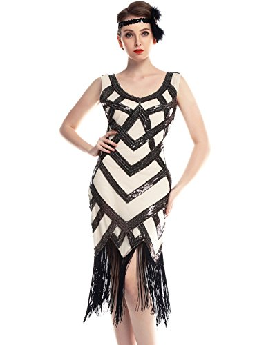 Flapper Girl Vintage inspired 1920s Art Deco Sequin Fringe Flapper Dress (Beige&Black, M) (Flapper Girls Dresses)