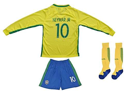 BRAZIL NEYMAR JR #10 Home Football Soccer Kids Jersey Sho...
