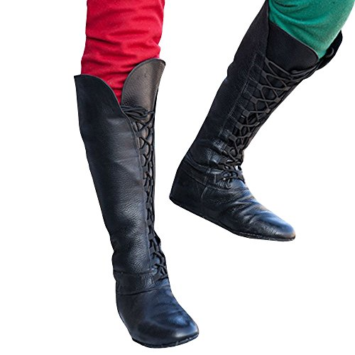(Men's Medieval Boots Lace up Pointed Toe Faux Leather Costume Plain Forest Flat)