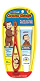Curious George Cleanser Set Toothbrush & Toothpaste for Baby, Kids, Children, Girls, and Boys. Starter and Training kit - 2pk (Red/Blue)