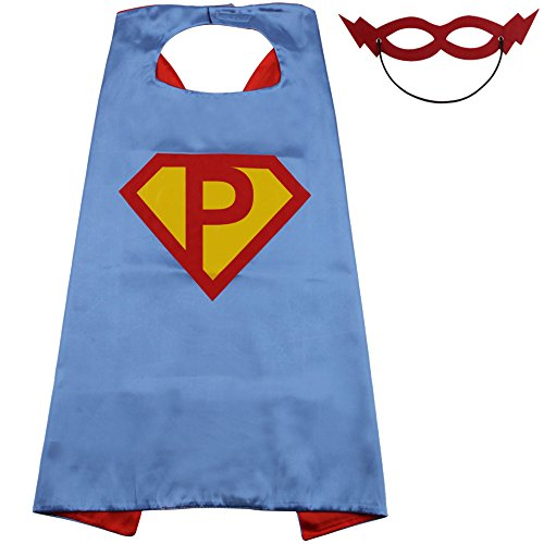 LYNDA SUTTON Superhero Capes for Kids with 15 Letters Initials Capes - Blue and Red - 27