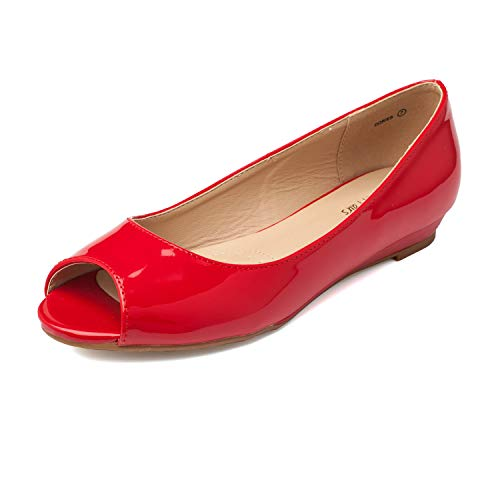 DREAM PAIRS Women's Dories Red Pat Low Wedge Peep Toe Flats Shoes Size 5.5 M US