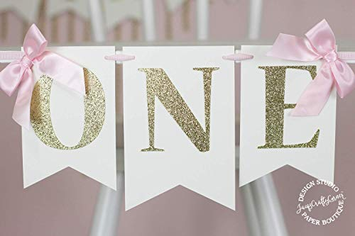 Pink and Gold First Birthday High Chair Banner