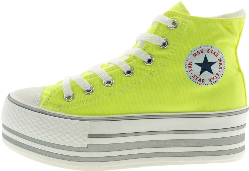 Maxstar Shoes Platform Zipper Canvas Green High top Sneakers vZvrqgSH