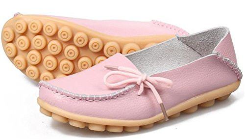 Leather Flats Loafer Pink Women Moccasin Shoes Grand Hee zX6EqpW
