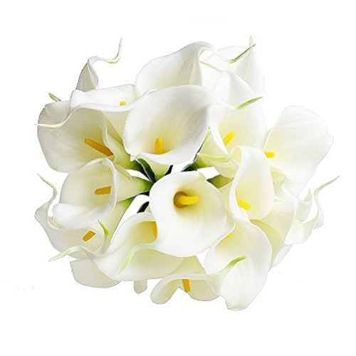Pink Long Calla Lilies Stem (Artificial Flowers Bouquet - 12 pcs Calla Lily Fake Flowers for Wedding Party Home Outdoor Indoor (White))
