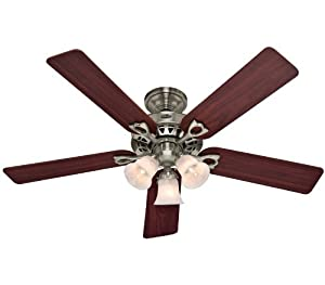 Hunter 53117 The Sontera 52 Inch Brushed Nickel Ceiling Fan With Five Cherry Maple Blades And A Light Kit