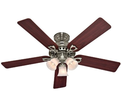 Hunter 53117 The Sontera 52-inch Brushed Nickel Ceiling Fan with Five Cherry/Maple Blades and a Light Kit