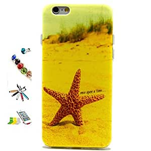 ZXSPACE Starfish Pattern TPU Material with Stylus Anti-Dust Plug and Stand Portfolio for iPhone 6