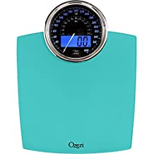 ozeri ZB19-T Rev Digital Bathroom Scale with Electro-Mechanical Weight Dial, Teal Blue