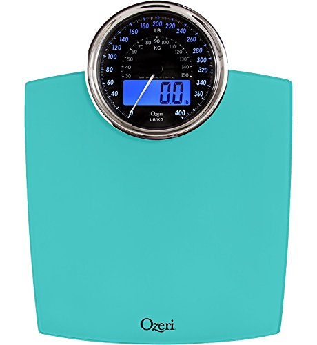 Ozeri Rev Digital Bathroom Scale with Electro-Mechanical Weight Dial, Teal...